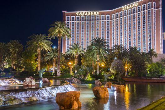 LAS VEGAS - NOVEMBER 08: Treasure Island hotel and casino on November 08, 2012 in Las Vegas. Las Vegas in 2012 is projected to break the all-time visitor volume record of 39-plus million visitors