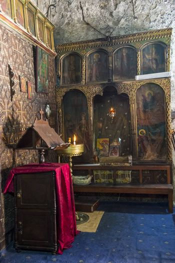 Interior of the Ethiopian section of the Church of the Holy Sepulchre in Jerusalem