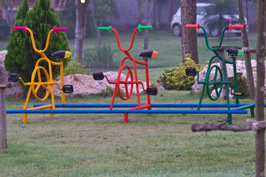 colorful bicycle in the playpark