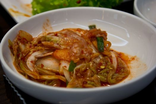kimchi in the korean restaurant