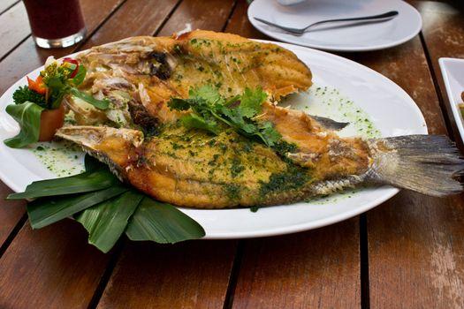 Thai fried snapper fish cusine