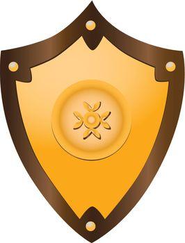 Gilded medieval shield