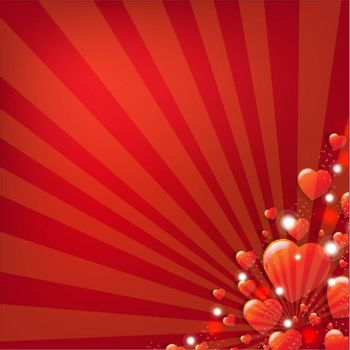 Red Valentines Day Background With Gradient Mesh, Vector Illustration