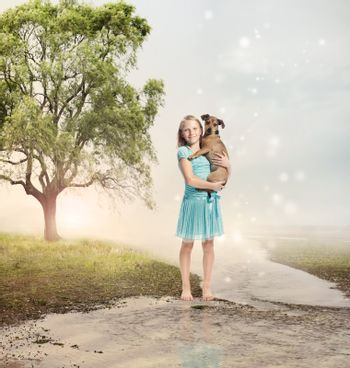Girl Holding her Puppy at a Magical Brook