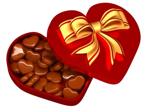 Allsorts milk chocolate in the form of heart in a red box with a golden bow as a sweet gift for perfect Valentine's Day.