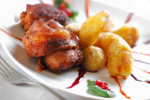 Roast chicken meat with Potato