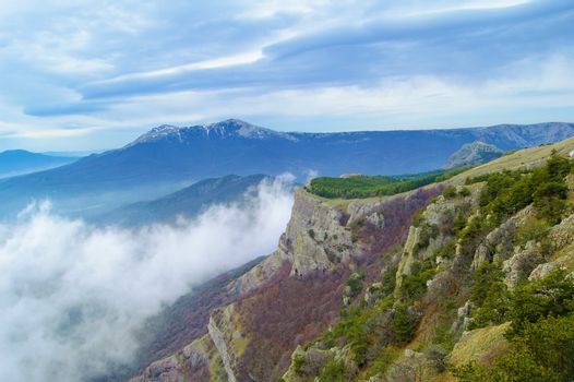 Beautiful Mountain Landscape with Low Clouds