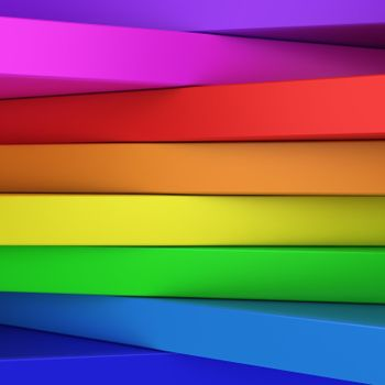 Abstract rainbow-coloured panels with copyspace for text OR just vibrant 3D background