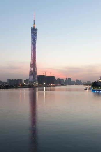 Guangzhou television tower near the Zhujiang river in Guangzhou city, Guangdong Province of China, where the Opening and Closing Ceremonies of the Guangzhou 2010 Asian Games will be held
