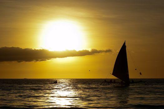 Ocean sunset landcape in Boracay, Philippines