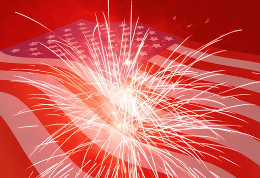 Fourth of July holiday background with fireworks