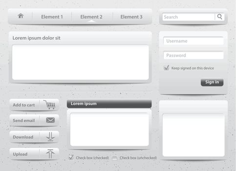 Light gray skin web design elements and modules on gray kraft background. Vector Illustration