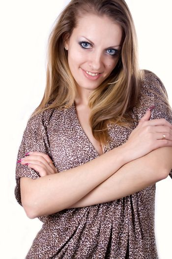 Portrait of attractive woman, happy and smiling..