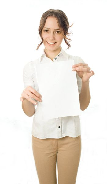 Girl with a piece of paper called an isolated white background