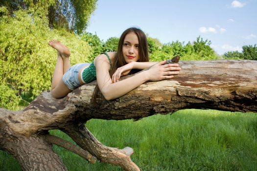 Beautiful girl lying on a tree in denim shorts and a t-shirt loo