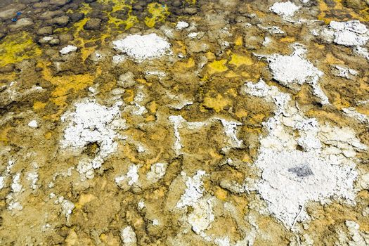 Badwater, deepest point in the USA, detail of salt sea with stones