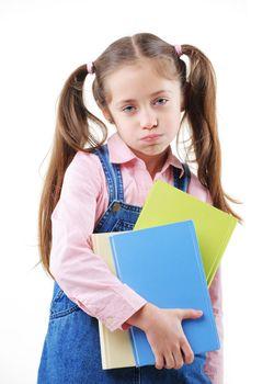 Schoolgirl with book unhappy go back to school