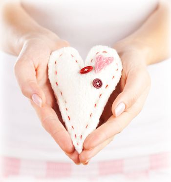 Soft toy heart-shaped