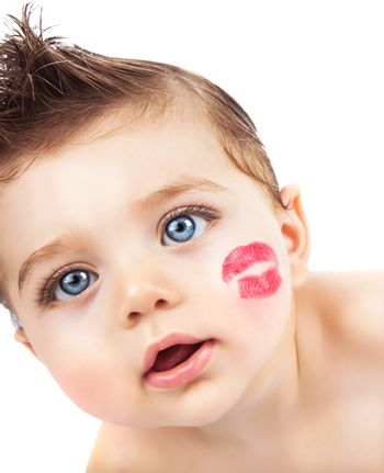 Kid with kiss
