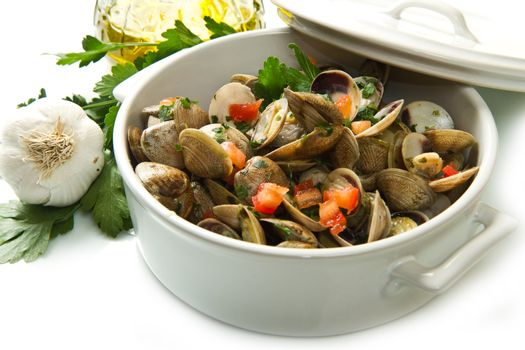 white bowl of clams soup on white background