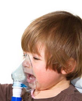 child taking respiratory, inhalation therapy
