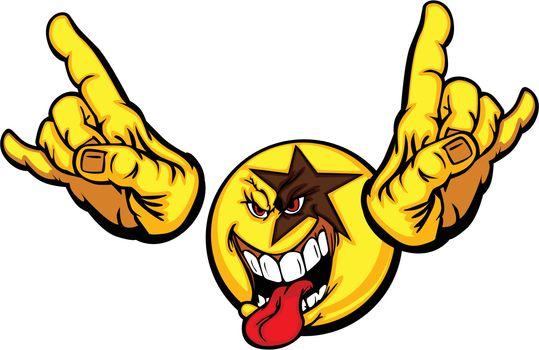 Rock Star Cartoon Face Emoticon