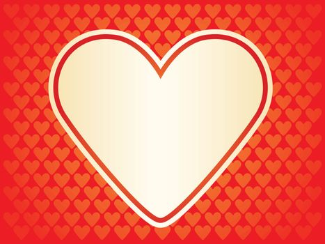 red background for Day of Valentine with golden heart