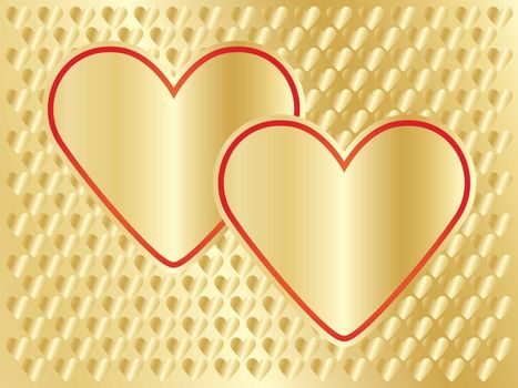 golden Day of Valentine background with two hearts