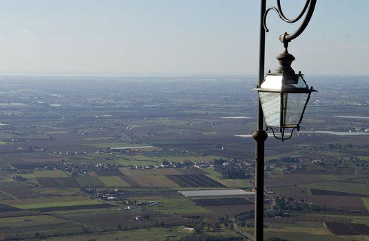 a landscape and light pole