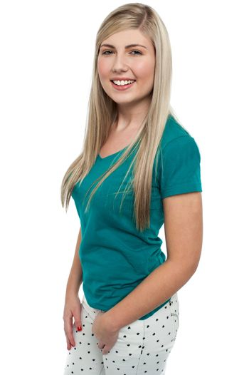 Pretty teen blonde dressed in casuals