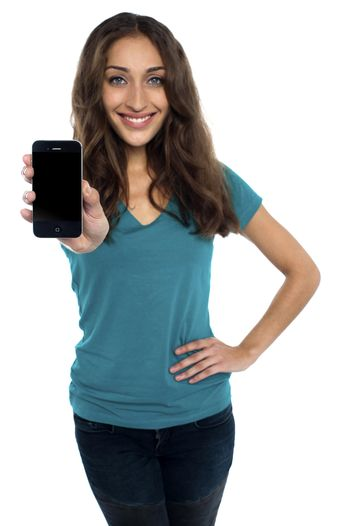 Young model displaying newly launched mobile