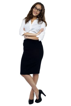 Smiling businesswoman striking a pose