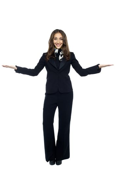 Air hostess welcoming the passengers