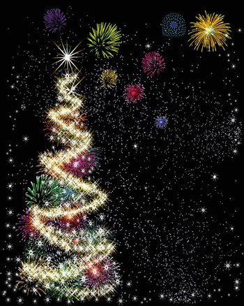 Christmas tree with star made using sparklers and fireworks