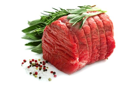 Raw beef isolated on white