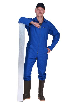 Worker in blue overalls
