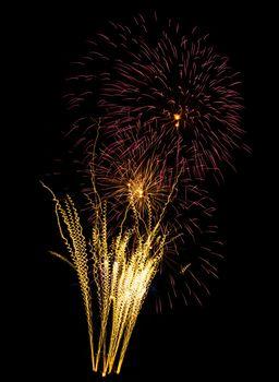 beautiful fireworks against the dark sky, fireworks