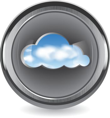Cloud shape cut out from brushed metal with a view of the clouds in the sky. Cloud computing abstract concept. Vector illustration.