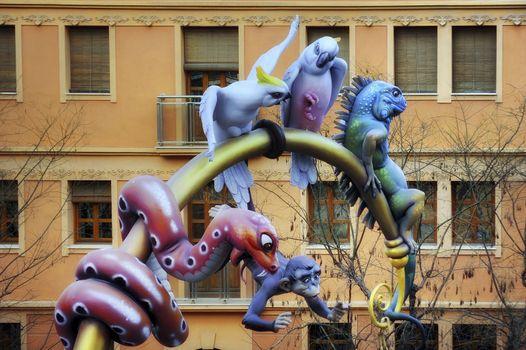 Papier-mâché animals at Las Fallas festival in Valencia