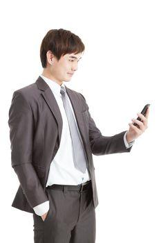 asian smart businessman holding smart phone