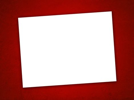 White Paper Valentine's Day Card on the Grunge Red Background