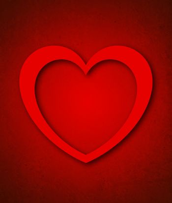Red Paper Valentine's Day Card with Big Red Heart