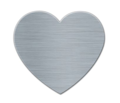 White Valentines's Day Heart in the Metal Textured Surface