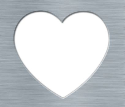 Valentines's Day Heart with Metal Texture on the White