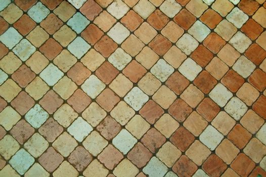 Grunge Tiled Floor Background with Coloured Tiles