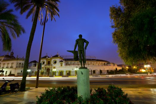 monument in front of Plaza de Toros in Sevilla