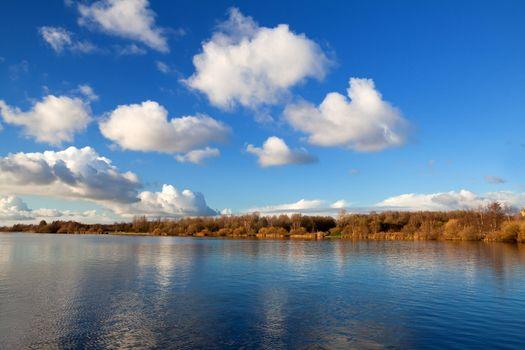 beautiful cloudscape over lake
