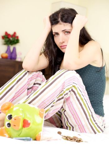 Woman without a job is depressed in economical depression crisis