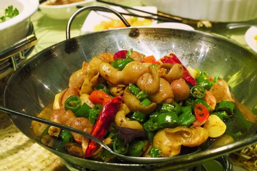 Chinese Sichuan cuisine - Pig's intestine with chili pot