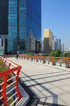 Footbridge in Guangzhou city of China